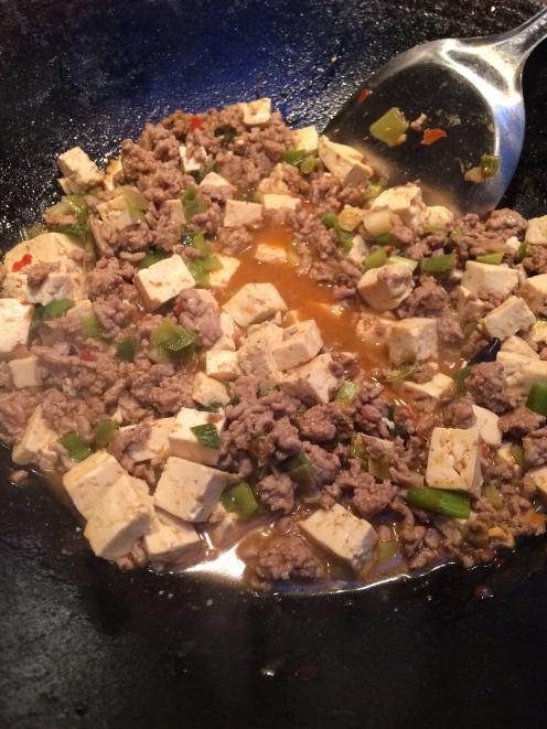 Simmer the pork & tofu to reduce the liquid