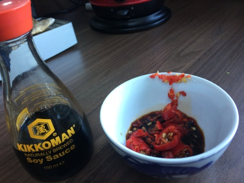 Red Chilli's and soy!