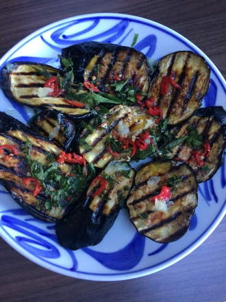 Aubergines with Chilli and mint