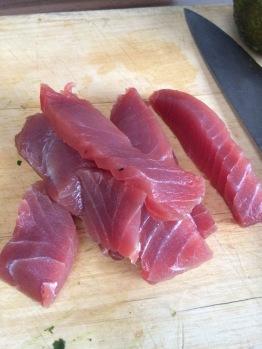 Slice the tuna steak