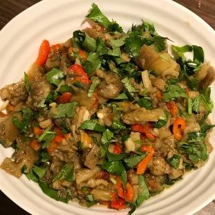 Smoky Aubergine & Roasted Pepper Salad